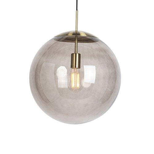 QAZQA Modern/Retro/Pendelleuchte/Pendellampe/Hängelampe/Lampe/Leuchte Ball 40 Messing mit rauchigem Glas/Innenbeleuchtung/Wohnzimmer/Schlafzimmer/Küche/Metall/Rund LED geeigne