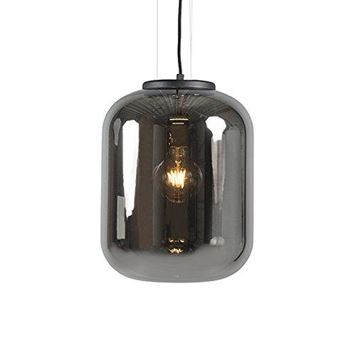 QAZQA Modern/Retro/Pendelleuchte/Pendellampe/Hängelampe/Lampe/Leuchte Bliss schwarz mit schwarzem rauchigem Glas/Innenbeleuchtung/Wohnzimmer/Schlafzimmer/Küche/Metall/Rund LED