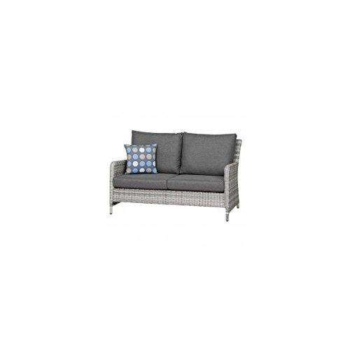Sienna Garden 2er Sofabank , Gartensofa Aluminiumgestell / Geglecht grau