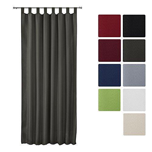 Beautissu Fenster Vorhang Schlaufen-Vorhang Amelie - 140x245 cm - Dekorative Gardine Schlaufenschal - diverse Farben