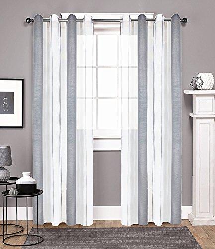 DEZENE Grau Weiß Gestreift Vorhänge Durchsichtig mit Ösen -2 Stück modern Streifen Transparent Voile tüll Gardinen für kinder