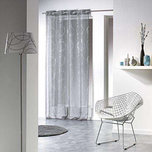 Douceur d'Intérieur 1623654Gardine mit Ösen, bedruckter Vorhang, silber/anthrazit, 140x 240cm
