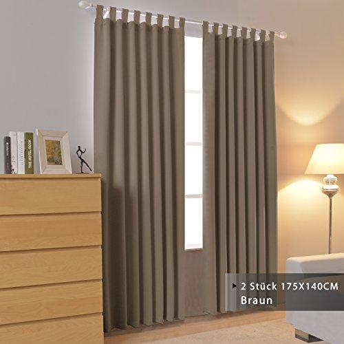 FLOWEROOM Blickdichte Vorhänge mit Schlaufen für Schlafzimmer, 2 Stück.