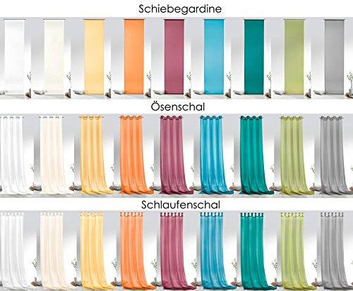 Fashion&Joy - Voile einfarbig als Schiebevorhang Ösenschal oder Schlaufenschal - 9 Farben - transparent Gardine Typ418