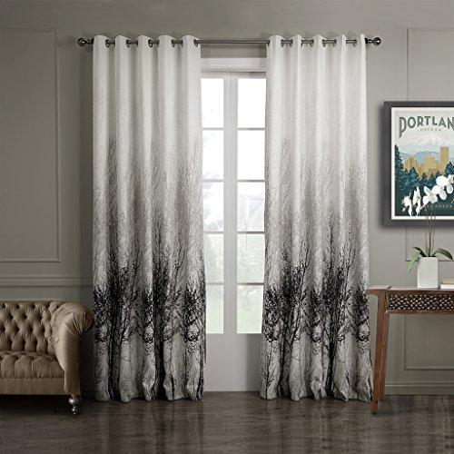 GWELL Elegant Baumblatt Druck Vorhang Blickdicht Schal mit Ösen TOP QUALITÄT Gardine für Wohnzimmer Schlafzimmer grau cream 245x140cm 1er-Pack