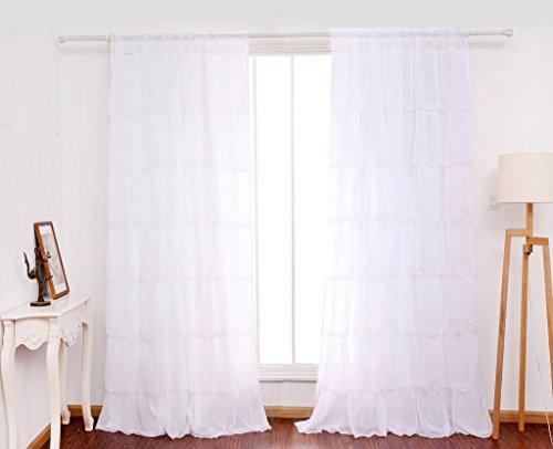 GWELL Supersanft Weiß Volant Gardine Transparent Voile Vorhang Schal TOP QUALITÄT für Wohnzimmer Schlafzimmer