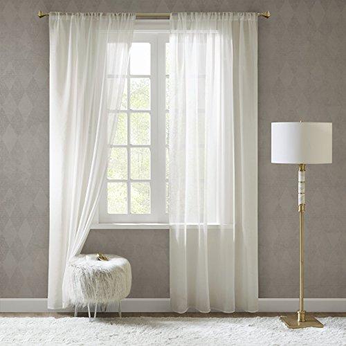 Gardinen Schals in Leinen-Optik Leinenstruktur Vorhänge Schlafzimmer Transparent Vorhang Fenster Doris Off White