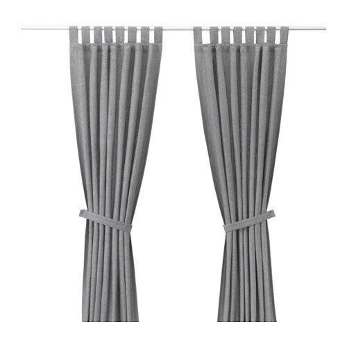 IKEA LENDA 2 Gardinen + Raffhalter in grau; (140x300cm)