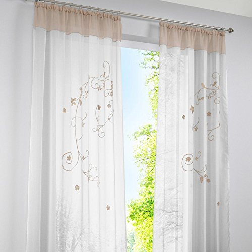 KOU-DECO Fenstervorhang Hochwertige Transparente Voile Kräuselband Gardinen mit Stickerei, 1er Pack