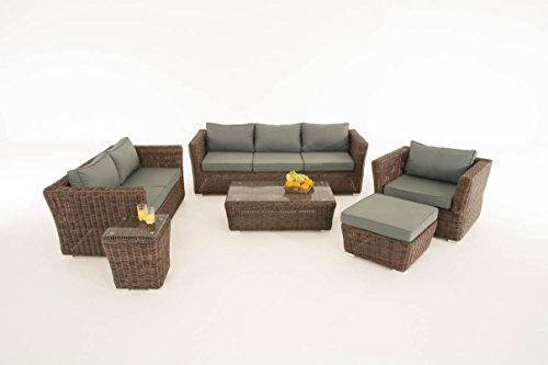 Mendler Poly-Rattan Gartengarnitur Sousse, Sofa-Garnitur Lounge-Set ~ Braun-Meliert, Polsterung eisengrau