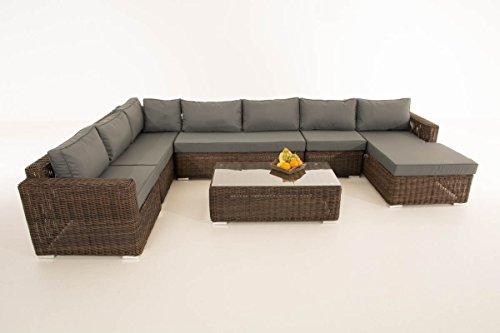 Mendler Sofa-Garnitur CP054, Lounge-Set Gartengarnitur, Poly-Rattan ~ Kissen eisengrau, Braun-Meliert