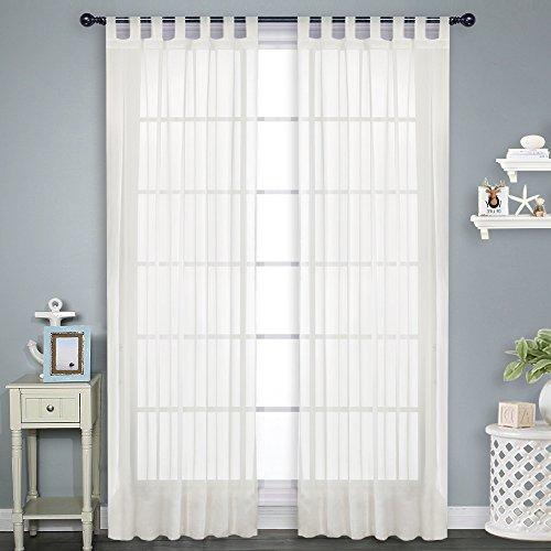 PONYDANCE Voile Transparent Vorhang 2 Stücke Terylene lichtdurchlässig mit Schlaufen