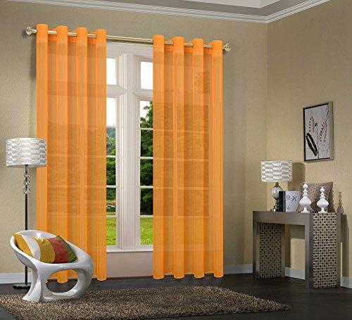 Primavera -20332CN- 2er-Pack Vorhang Transparent Gardinen Set Wohnzimmer Voile Vorhang Ösenvorhang HxB 245x140 cm mit Bleibandabschluß