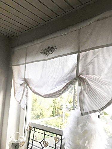 Raffrollo Gardine gestreift beige o. grau/weiß