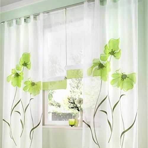 SIMPVALE 2 stücks Gardinenschal Gardine Print Blumen Vorhang für Wohnzimmer Schlafzimmer Schlaufenschal Breit 150cm