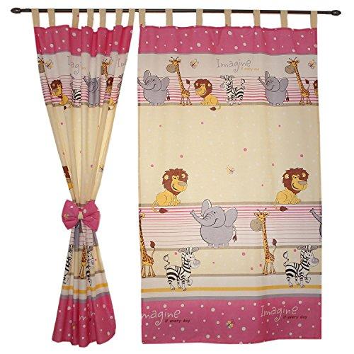 TupTam Kinderzimmer Vorhänge 2er Set mit Schleifen 155x95cm
