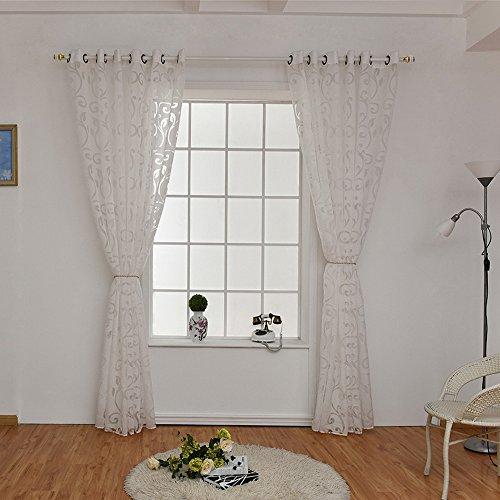 URIJK 100cmx250cm Transparent Gardine Voile Vorhang Blume Muster Dekoschal mit Ösen Fenster Dekoration Schlafenschal für Wohnzimmer Schlafzimmer Studierzimmer (1 Stück)
