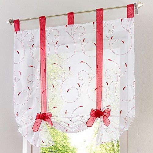 URIJK Transparent Gardine Raffrollo Vorhang Blumen Muster Raffgardine Vohang Volievorhang Vorhang Fenster Dekoration für Schlafzimmer Wohnzimmer