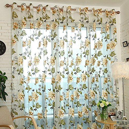 URIJK Transparent Gardine Strauchpäonie Muster Blume Vorhang Ösen Schlaufenschal Fenstervorhang für Wohnzimmer Schlafzimmer Studierzimmer (1 Stück)