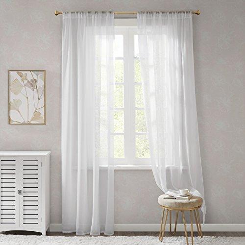 Voile Gardinen Schals mit Tunnelzug Transparent Leicht & Soft Wohnzimmer Vorhänge für Fenster