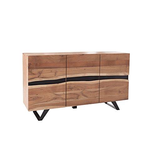 Massives Sideboard AMAZONAS 150cm Akazie Metall schwarz Massivholz Kommode Massivholzschrank Schrank Anrichte