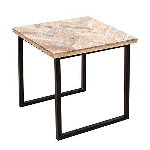 Invicta Interior Moderner Beistelltisch FUSION 45cm Mangoholz eckig natur Massivholz Couchtisch Wohnzimmertisch Holztisch Tischplatte aus Mangoholz