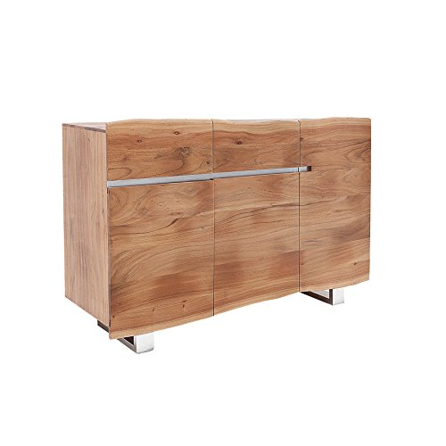 Massives Baumstamm Sideboard MAMMUT 135cm Akazie Massivholz Edelstahl Anrichte Schrank