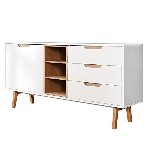 Invicta Interior Design Retro Sideboard Nordic 150cm edelmatt weiß Echt Eiche Anrichte Kommode Wohnzimmer Schrank