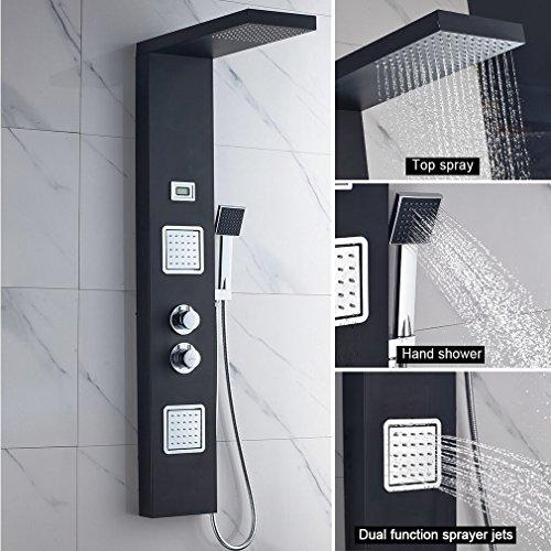 BONADE Funktional Thermostat Schwarz Edelstahl Duschpaneel mit Temperatur Dispaly Aufputz Wandhalterung Montage (Thermostat Duschpaneel)