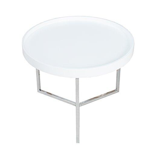 extravaganter couchtisch modul 60 cm wei chrom rund inkl tablett beistelltisch holztisch. Black Bedroom Furniture Sets. Home Design Ideas