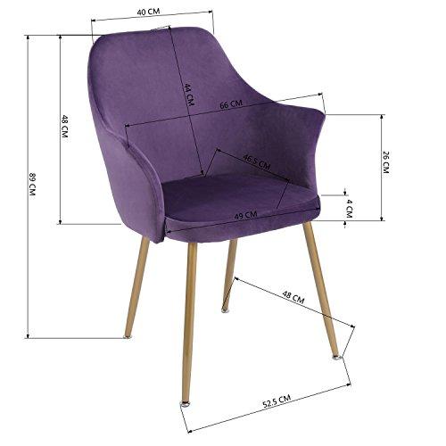 EGGREE Stuhl Samt Esszimmerstuhl Küchenstuhl Retro Polstersessel mit Weich Kissen Sitz und Metall Beine, Lila