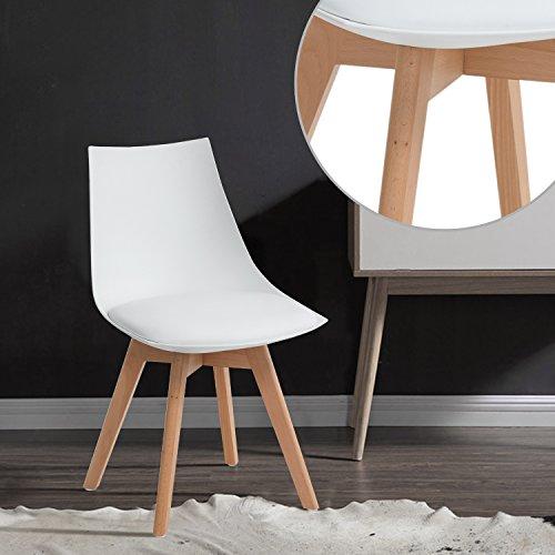 EGGREE 4er Set Holz küchen stühle, Retro Gepolsterter Bürostuhl mit Füßen in massivem Buchenholz - Weiß