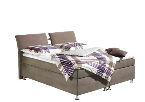 Maintal Boxspringbett Dean, 180 x 200 cm, Microvelour, 7-Zonen-Kaltschaum Matratze H3, taupe
