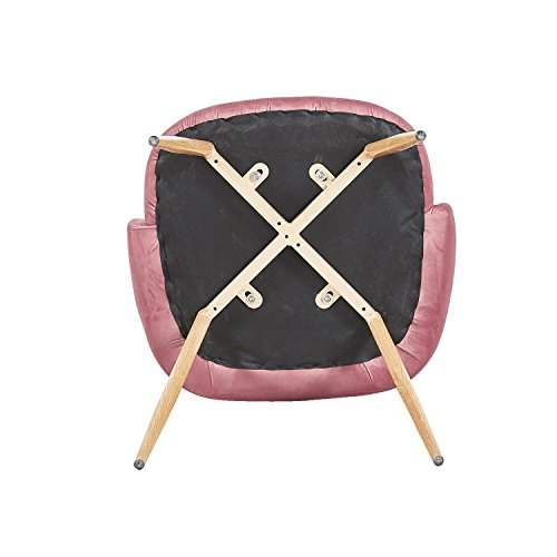 EGGREE 2er Set Vintager Retro Sessel Polstersessel SAMT Lounge Sessel Clubsessel Fernsehsessel (Stieg rot)