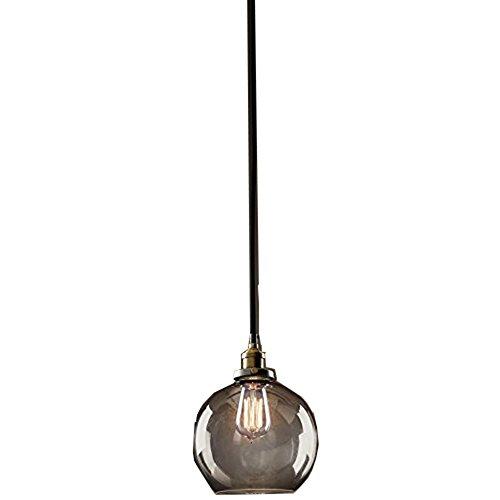 E27 Vintage Antique Smoke-Ball Birne Pendelleuchte mit geräucherter Glaskugel Nostalgie 40W inklusive Glühbirne