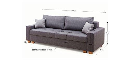 B-famous Bozen Bettfunktion und Bettkasten Schlafsofa, Stoff, Anthrazit, 86 x 230 x 95 cm