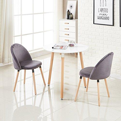 EGGREE 2er Set Vintager Retro Polstersessel Esszimmerstuhl Samt Stuhl mit Massivholz Bein Grau