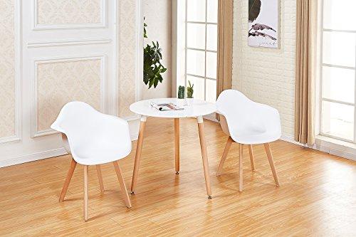EGGREE 2er Set Esszimmerstühle Skandinavisch mit Armlehne und Starke Metallbeine, Modern Design Sessel für Büro Küche Wohnzimmer, Weiß