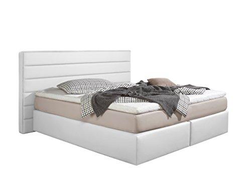Maintal Boxspringbett Toulouse, 140 x 200 cm, Kunstleder, Tonnentaschenfederkern Matratze H3, Weiß