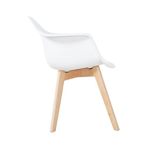 EGGREE 2er Set Esszimmerstühle mit Massivholz Buche Bein,Skandinavisch Modern Design Sessel für Büro Küche Wohnzimmer ,White