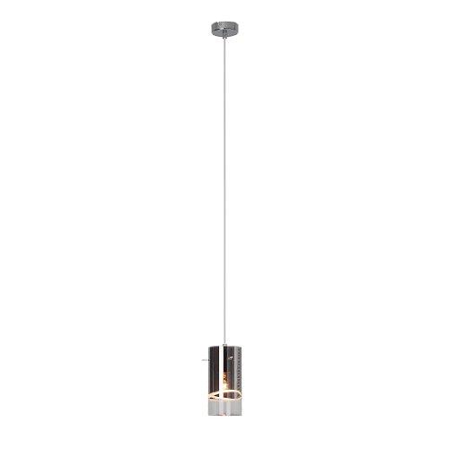 Brilliant Carlow Pendelleuchte, 1-flammig, Glas, E27, 60 W, Chrom, 9.5 x 9.5 x 110 cm