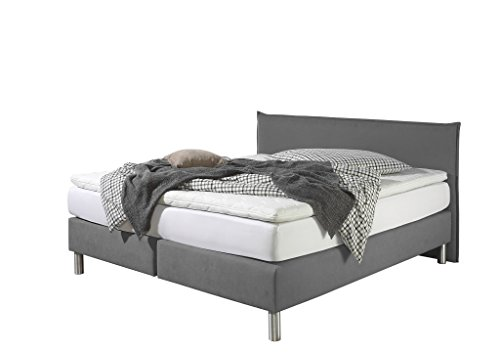 Maintal Boxspringbett Point, 100 x 200 cm, Stoff, Bonellfederkern Matratze h3, Grau
