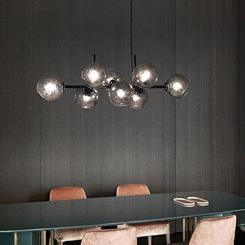 ZMH LED Pendelleuchte esstisch Hängeleuchte mit 8-Flammig Glas Kugel Leuchte Pendellampe Küchen Esszimmerlampe Hängellampe Kronleuchte LED Wohnzimmerlampe Schlafzimmerleuchte Innenleuchte Küchenlampe Küchenleuchte für Restaurant, cafe, bar, Wohnzimmer, schlafzimmer, Essbreich (Rauchgrau)