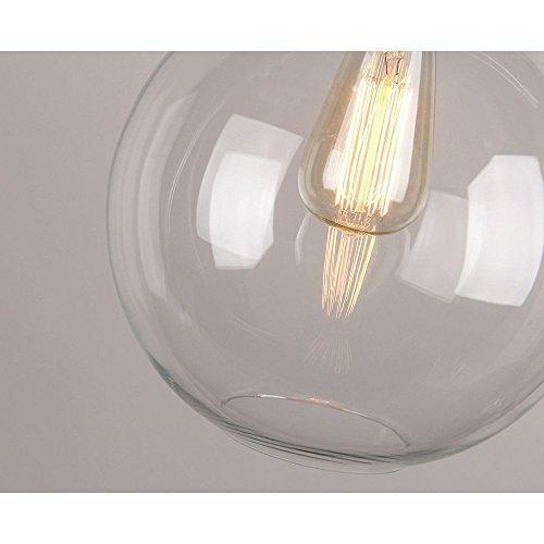 Glighone Industrial Hängeleuchte Glas Industrielle Vintage Pendelleuchte E27 Retro Deckenbeleuchtung Rund für Loft Coffee Bar Restaurant Wohnzimmer Schlafzimmer Küche Esszimmer..