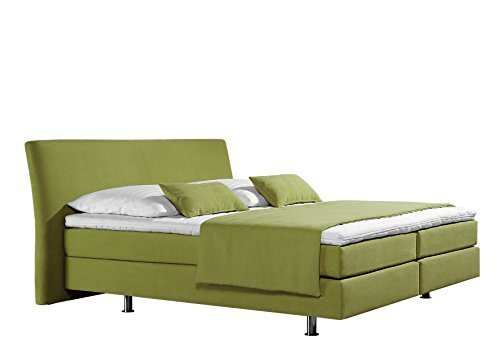 Maintal Boxspringbett Club, 180 x 200 cm, Strukturstoff, 7-Zonen-Kaltschaum Matratze h3, lemon