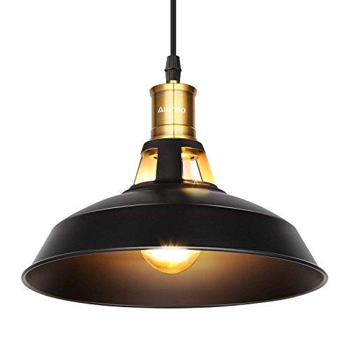 Albrillo Industrielle Vintage Pendelleuchte Retro Hängeleuchte Φ 27cm für E27 Leuchtmittel, Schwarz Eisen Lampenschirm und Ideal für Esszimmer, Wohnzimmer, Restaurant