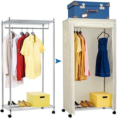 Artmoon Buffalo   Kleiderschrank mit 2 Ablagen, 1 Stange und Schutzhülle   Kleiderschrank auf Rollen   Einfache Montage   20 Kleiderbügel und 50 kg Lasten   Abmessungen: 75x45x150cm