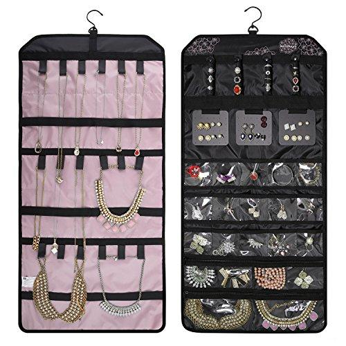 BAGSMART Doppelseitiger Schmuckorganizer zum Aufhängen für Ohrringe, Halsketten, Ringe, Rosa