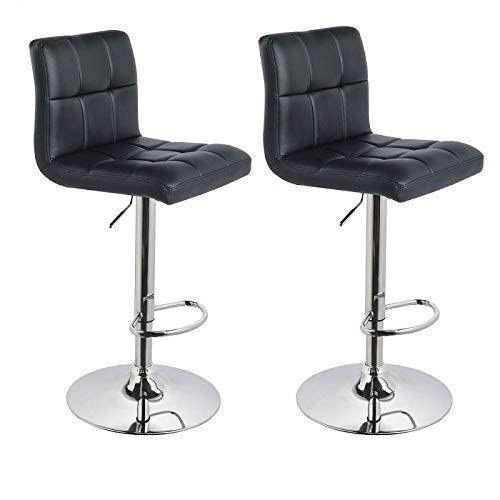 Barhocker 2x Barstuhl Kunstleder SCHWARZ, Drehstuhl, Tresenhocker (Typ 9-451Y) Bar Sessel, gut gepolstert, Bodenschoner, mit verchromten Griff, höhenverstellbar, gut gepolstert mit Lehne, eckig