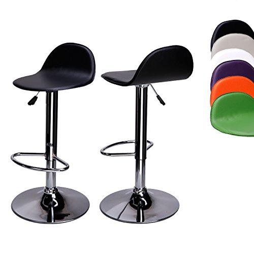CCLIFE 2er-set Barhocker Barstuhl Höhenverstellbar Drehbar Bistrohocker mit Lehne Sitzhöhe 58-78 cm Farbauswahl verchromter Stahl pflegeleichter Kunstleder, Farbe:Schwarz
